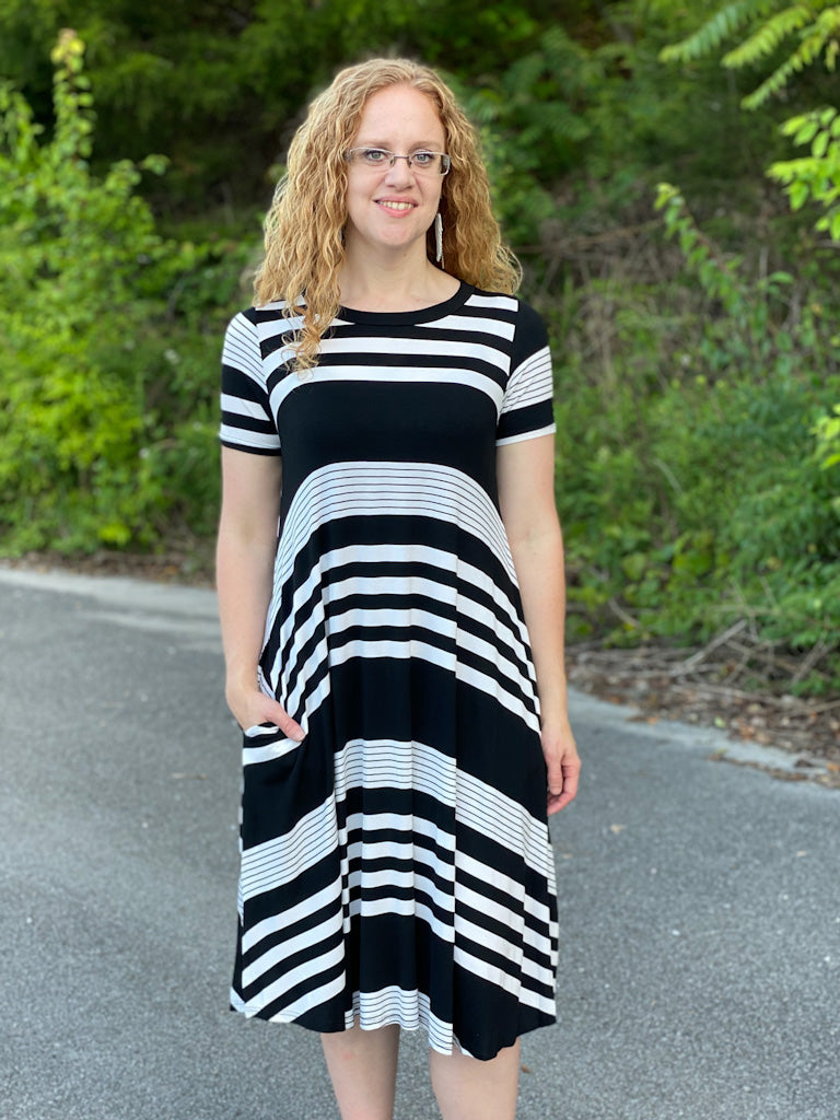 black striped midi dress X45