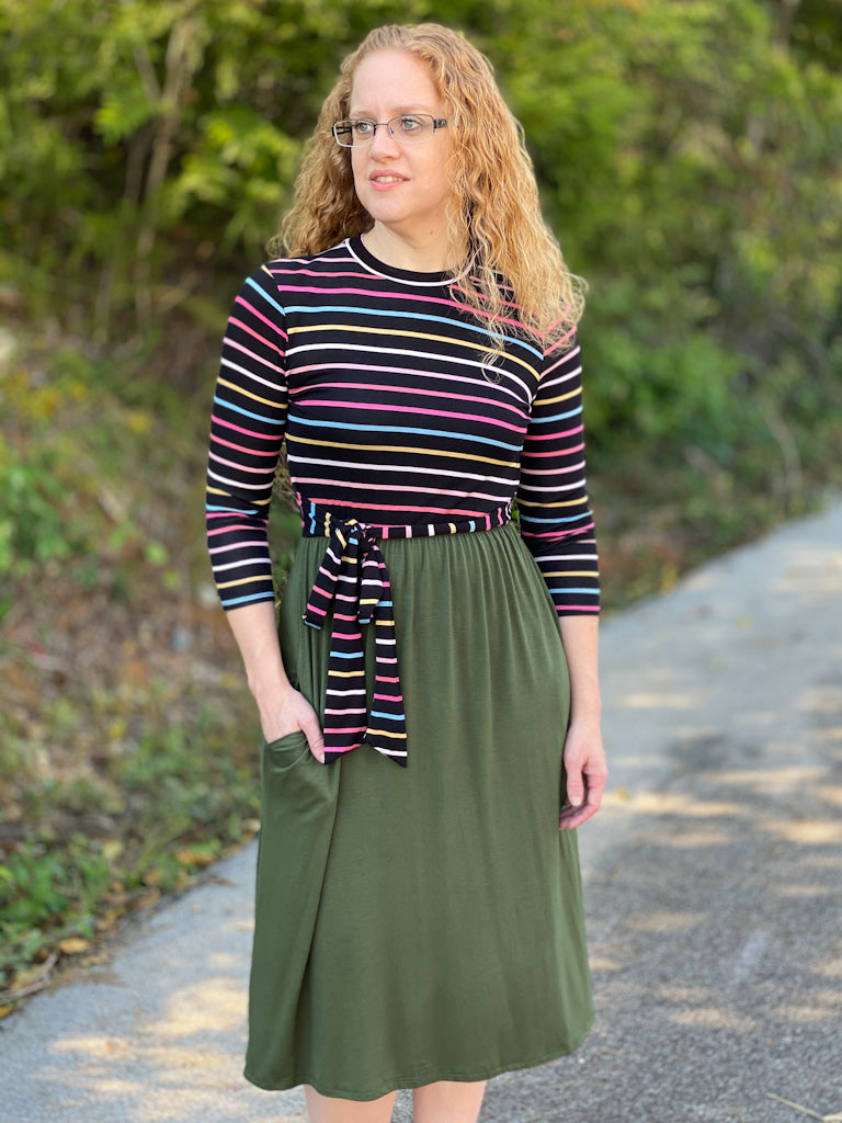striped olive bottom dress P57