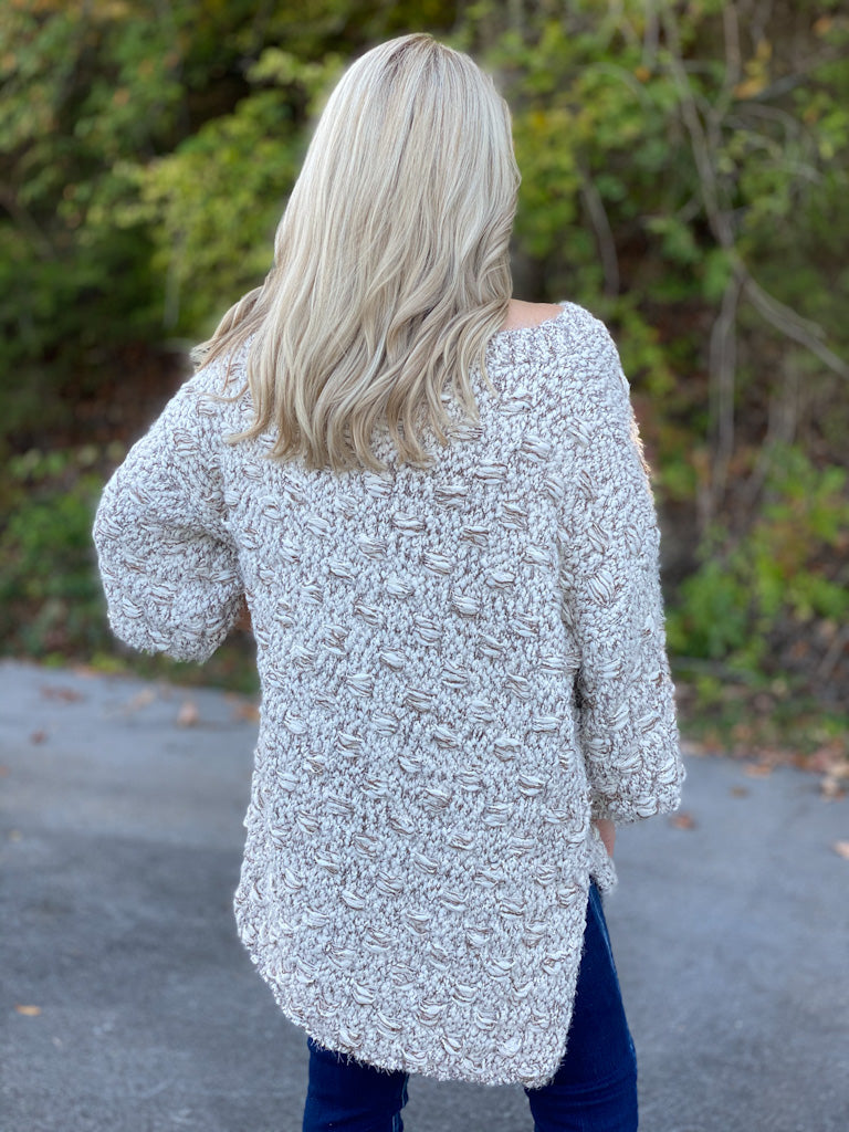 mocha and white basket weave sweater