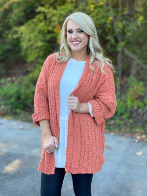 dusty coral cable knit cardigan V38