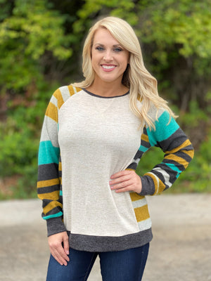 oatmeal striped sleeve top Z17