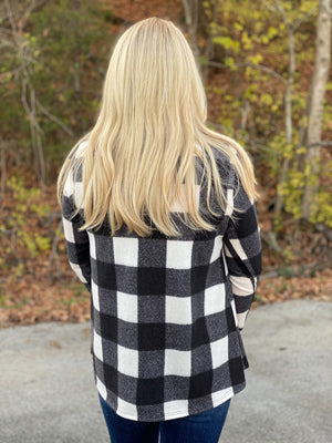 black and white plaid ruffle top S64 FINAL SALE NO EXCHANGE