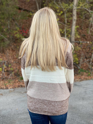 mocha striped sweater with turtleneck