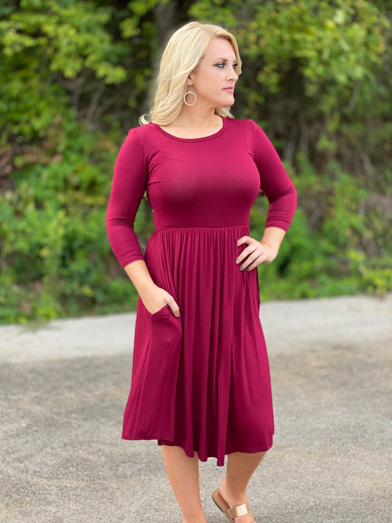 burgundy cinched waist midi dress R17