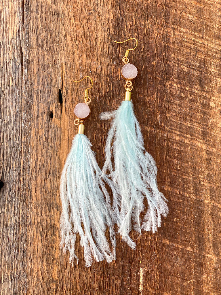 light blue feather earrings 1074 FINAL SALE NO EXCHANGE