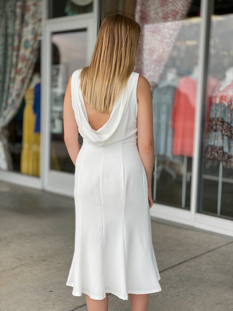 white draped back tank dress U70