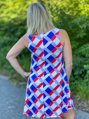 red, white and blue tank dress E69 FINAL SALE NO EXCHANGE