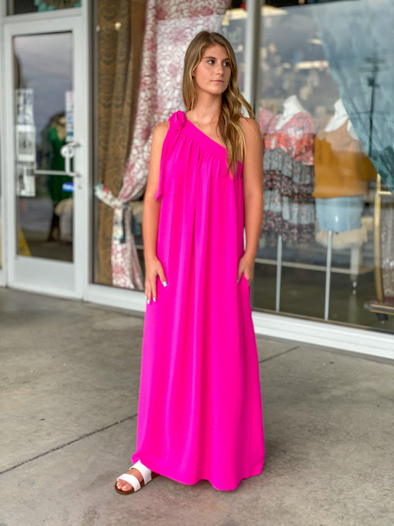 hot pink one shoulder dress G17