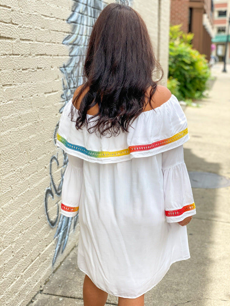white rainbow trim dress E73