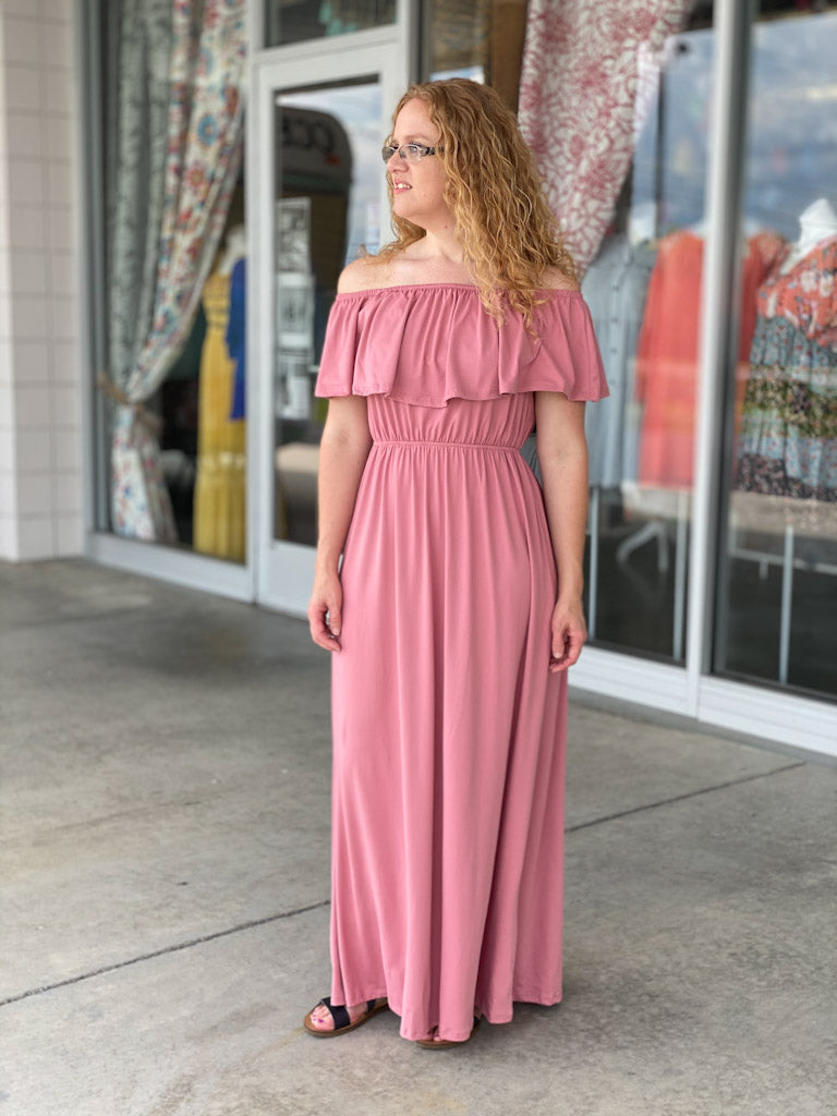 mauve off shoulder maxi dress A56