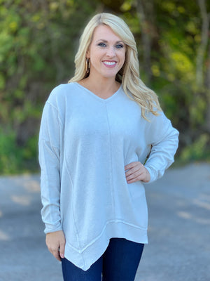 gray soft asymmetrical top P47