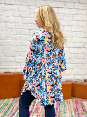 ivory floral bell sleeve tunic L12 FINAL SALE NO EXCHANGE