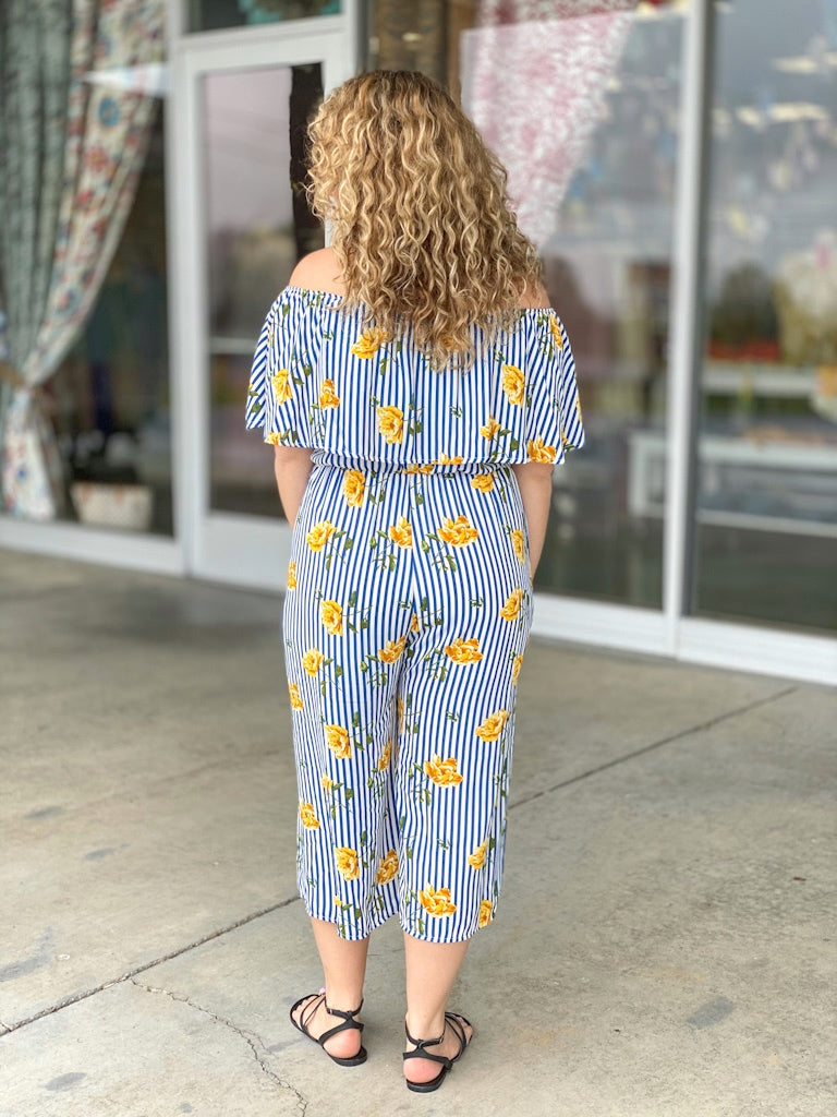 blue striped yellow floral jumpsuit G29 FINAL SALE NO EXCHANGE