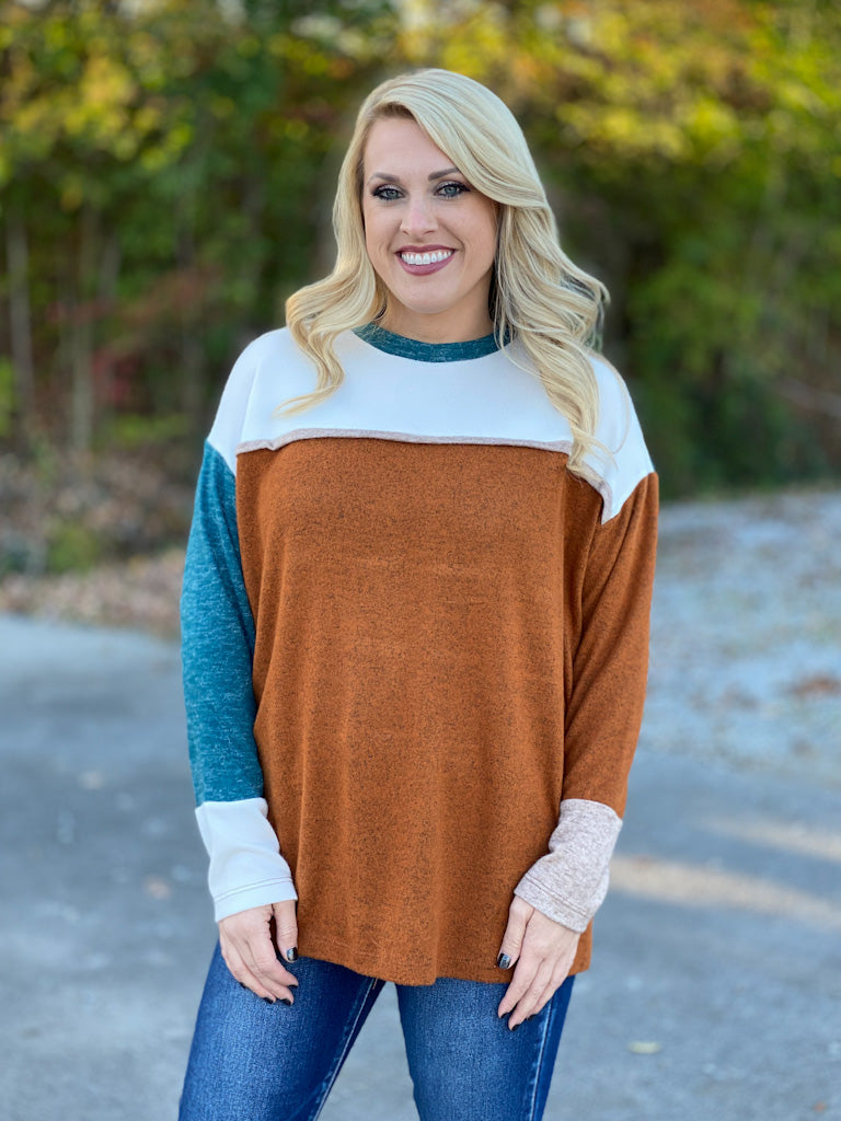 teal and camel blocked top P14
