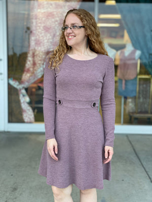 mauve button waist dress K17