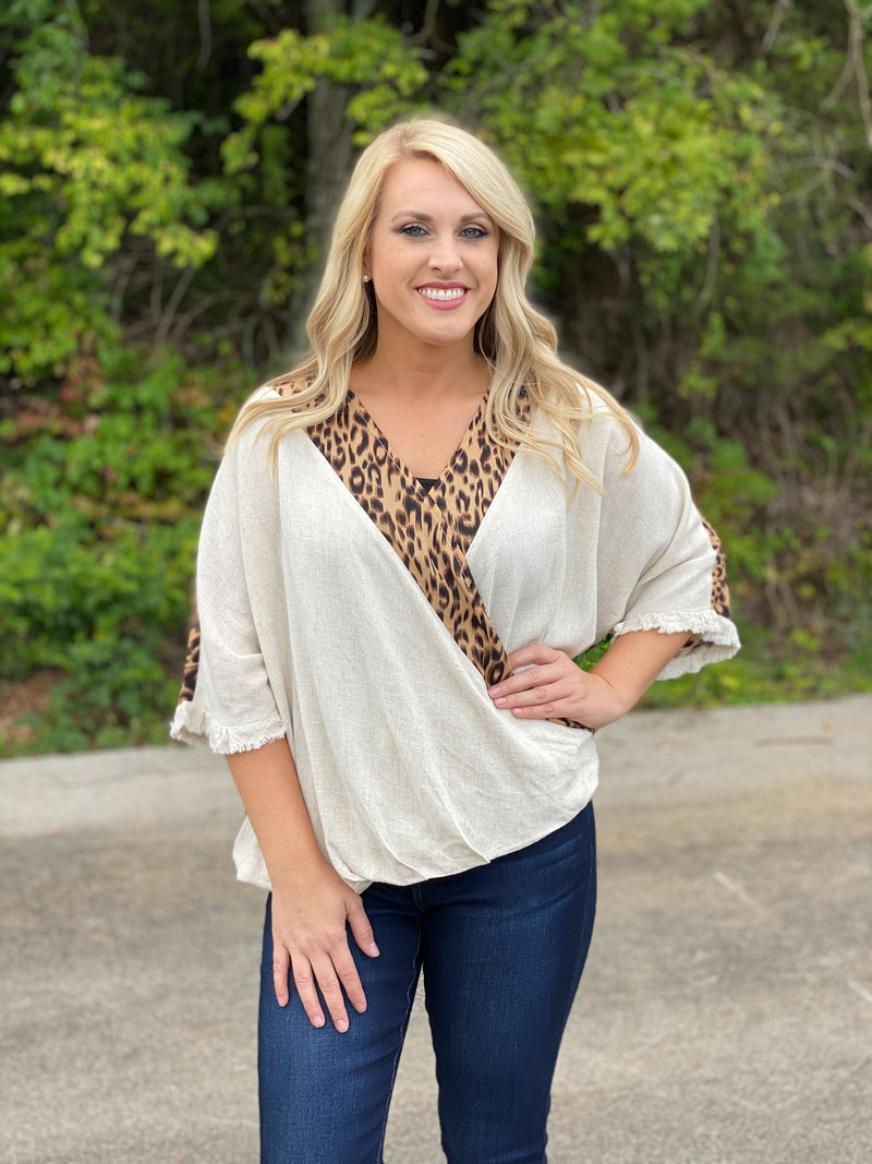 oatmeal/leopard crossed front top E39