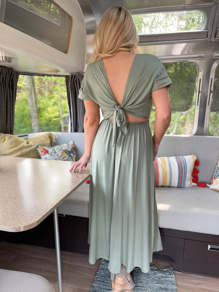 olive tie back dress O30