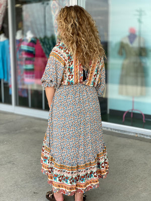 ivory high/low boho dress X31
