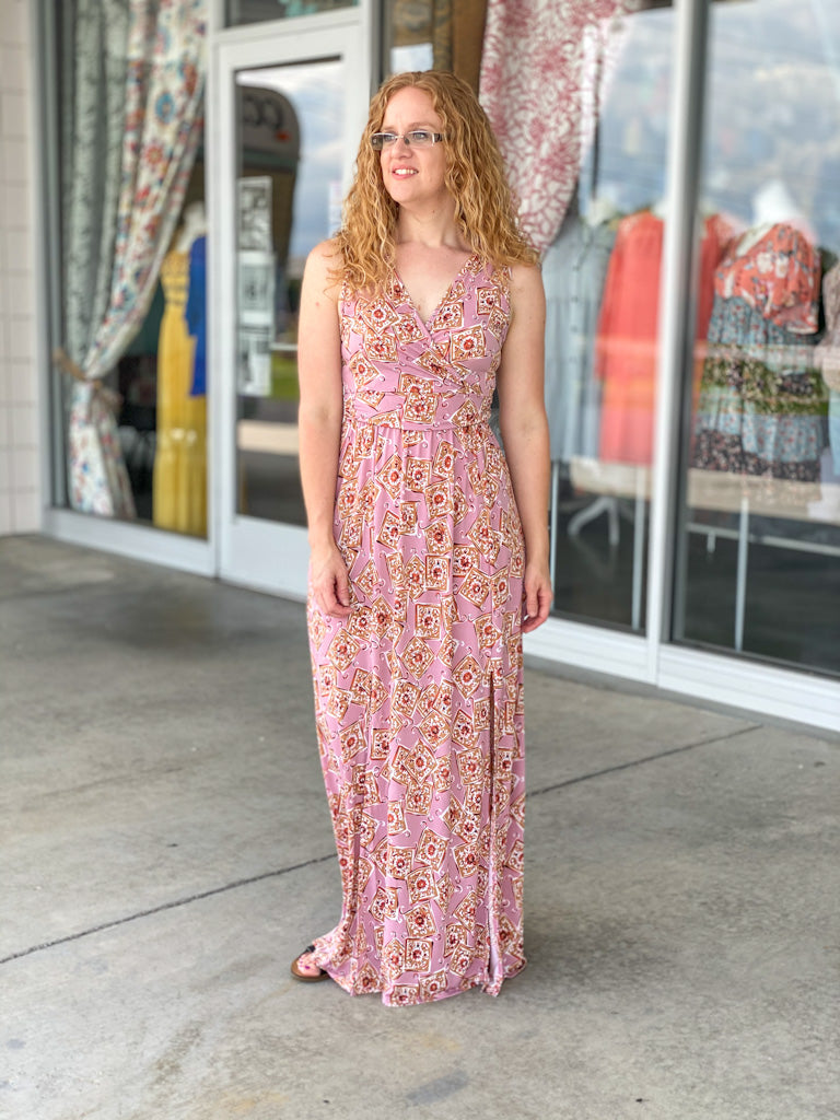 pink print maxi dress Y47 FINAL SALE NO EXCHANGE