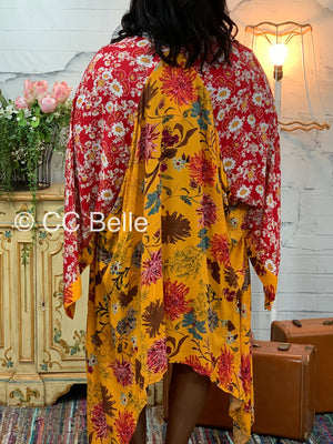 patchwork mustard kimono L15 FINAL SALE NO EXCHANGE