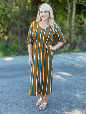 camel button front striped dress M58 FINAL SALE NO EXCHANGE