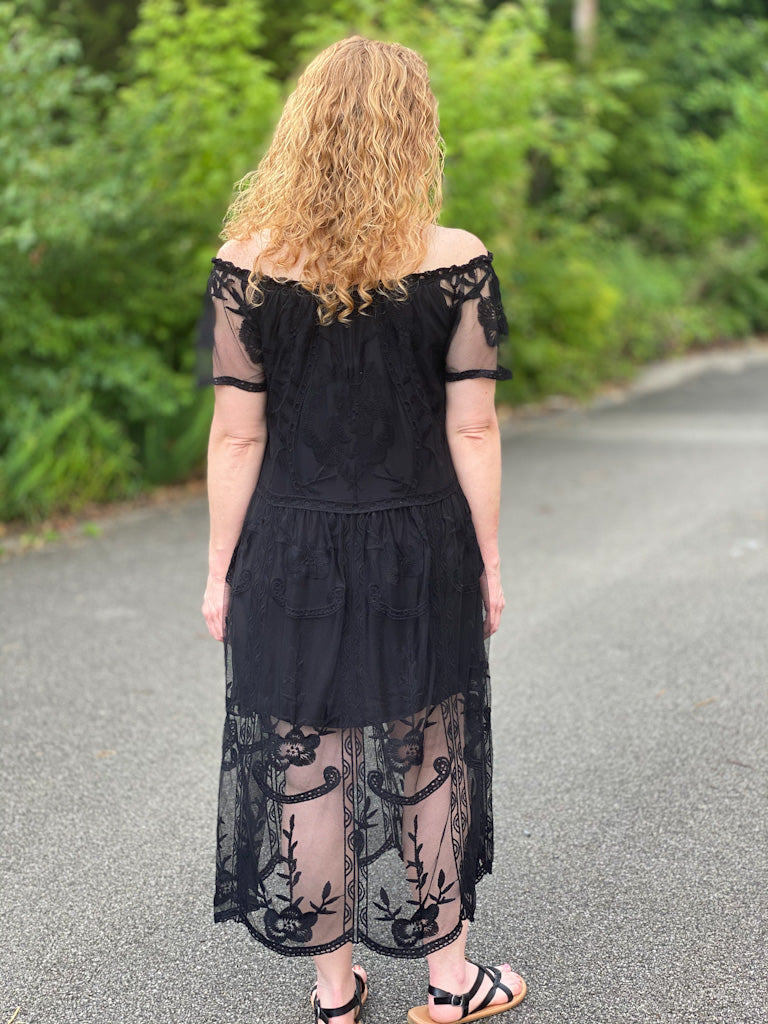 black lace off shoulder dress M38