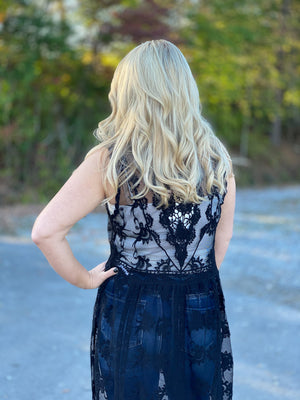 sheer black lace tank top midi Z44
