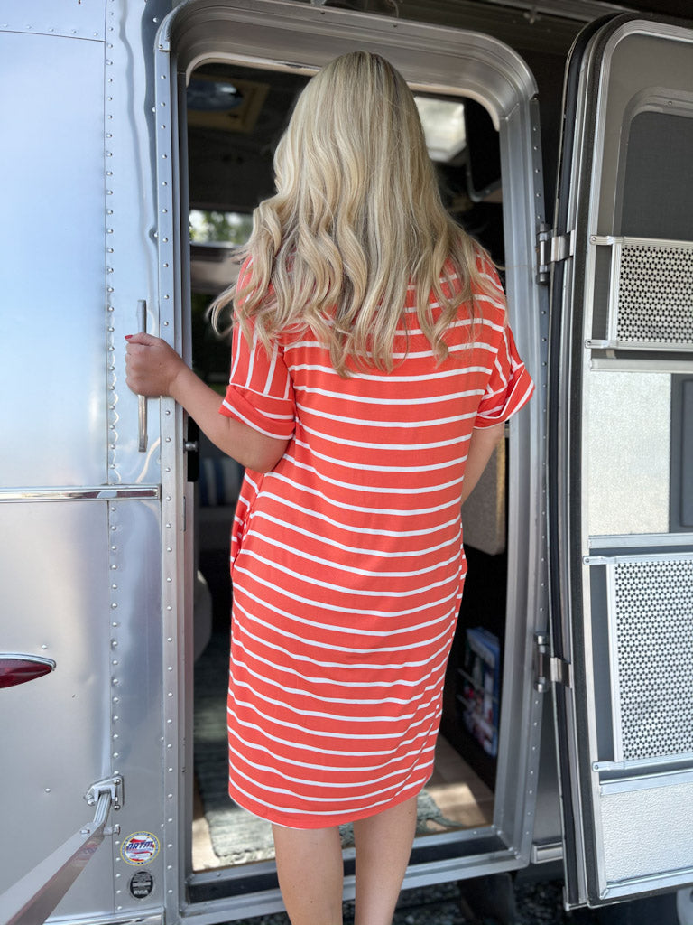 orange//white striped dress C9