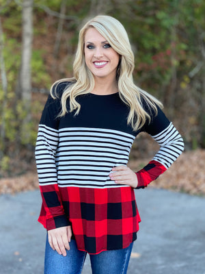 striped black and buffalo print top K25
