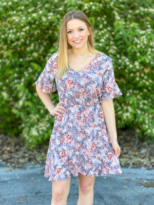 dusty lavender floral dress B49 FINAL SALE NO EXCHANGE