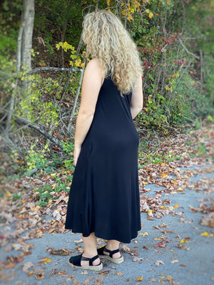 black tank midi dress A6 FINAL SALE NO EXCHANGE