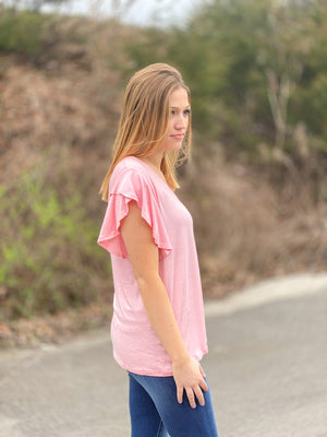pink ruffle sleeve top J21 FINAL SALE NO EXCHANGE