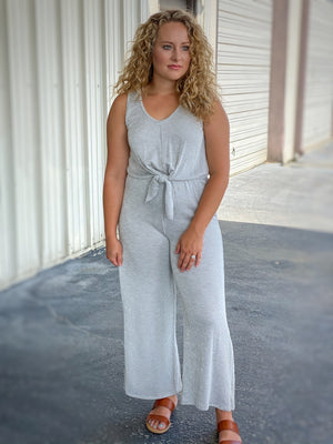 gray and white striped jumpsuit L16 FINAL SALE NO EXCHANGE