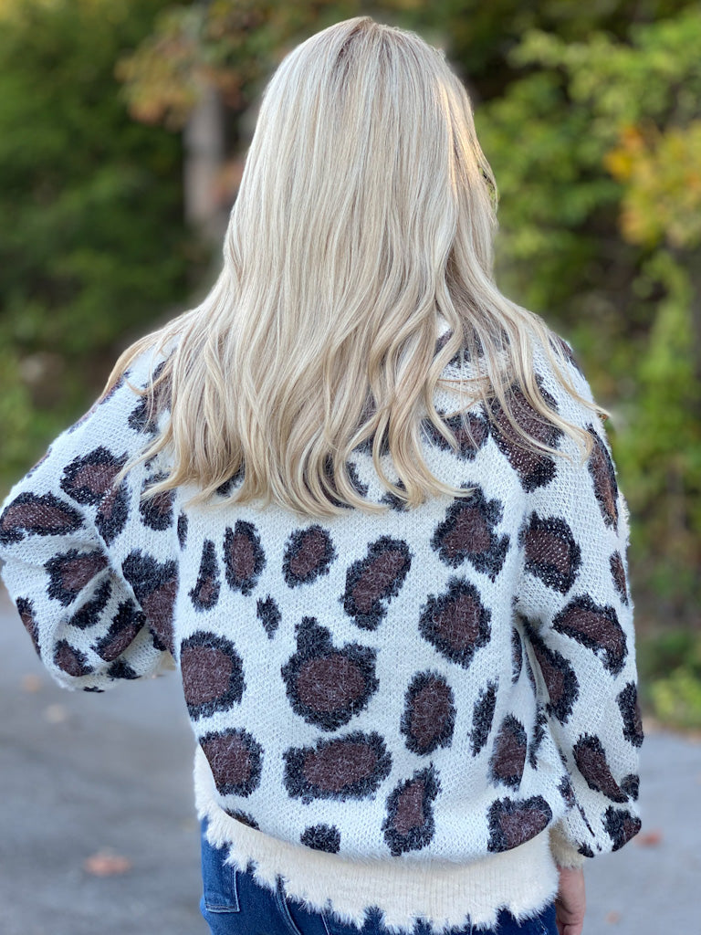 ivory leopard sweater FINAL SALE NO EXCHANGE