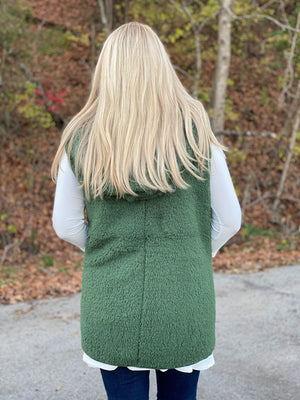 hunter green sherpa vest P22 FINAL SALE NO EXCHANGE