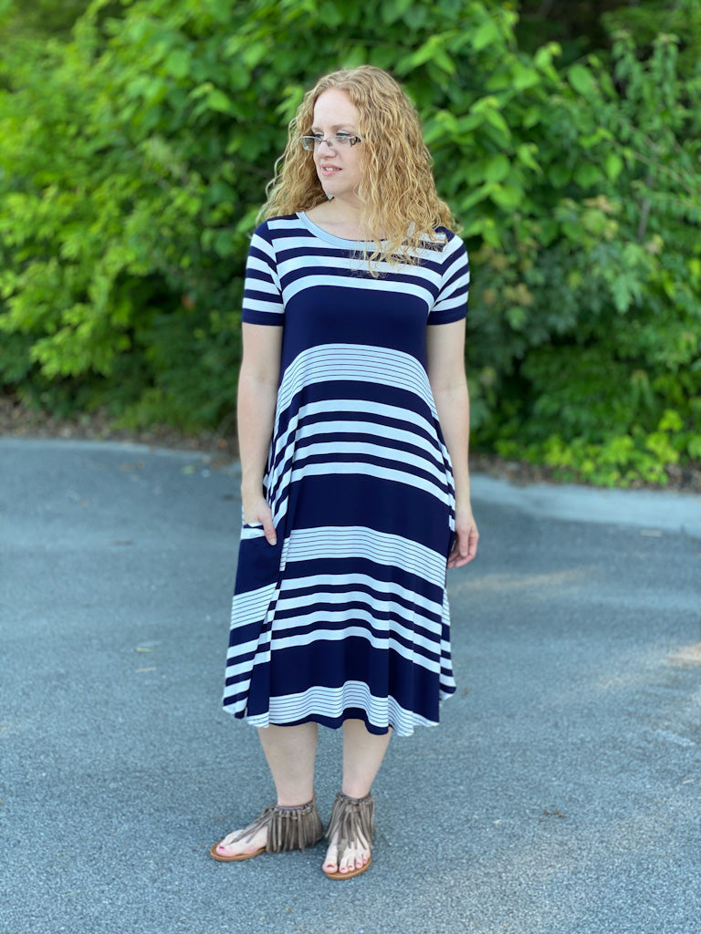 navy striped midi dress X44