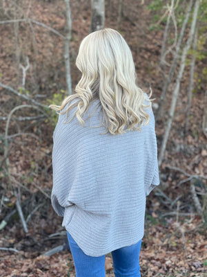 heather gray ribbed sweater