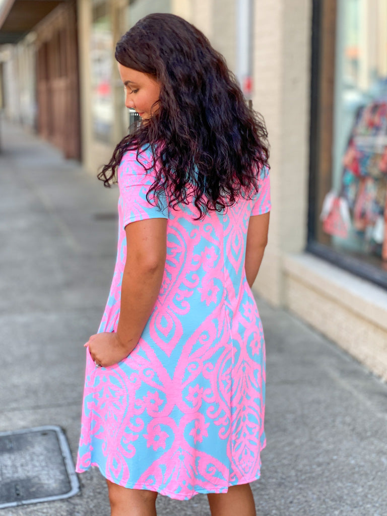 pink and gray printed dress P36
