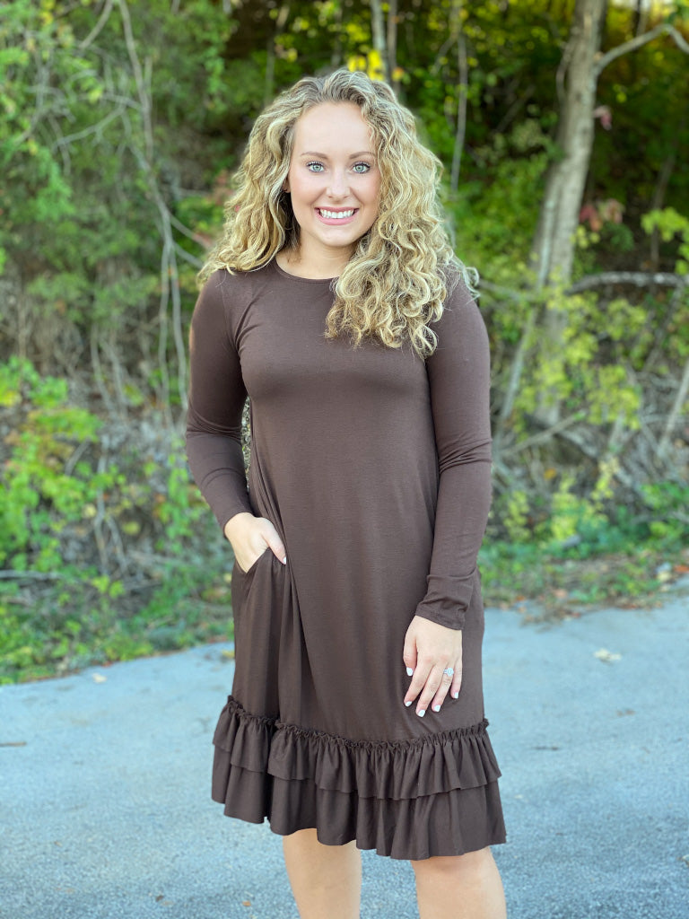 brown ruffled bottom dress S61