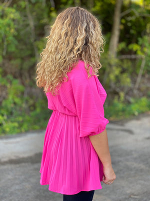 pink pleated tunic C32 FINAL SALE NO EXCHANGE