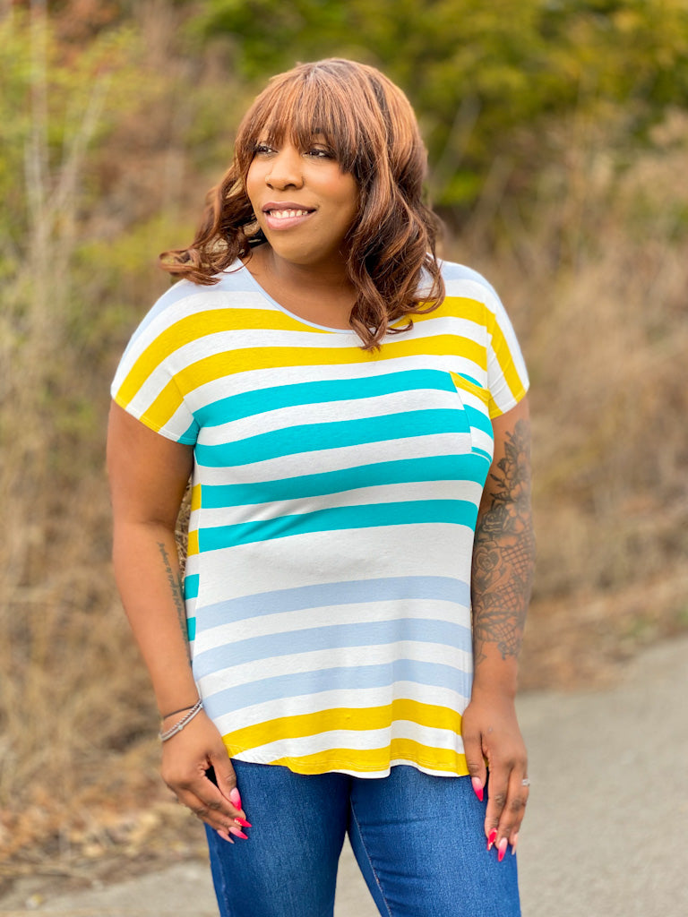 teal striped top A12 FINAL SALE NO EXCHANGE