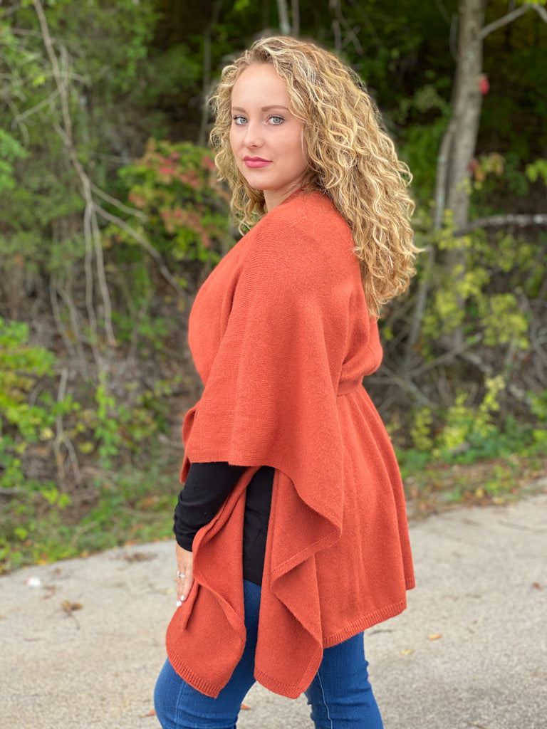 rust sweater kimono Z67 FINAL SALE NO EXCHANGE