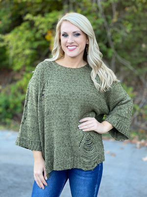 destroyed olive 3/4 cuffed sleeve sweater FINAL SALE NO EXCHANGE