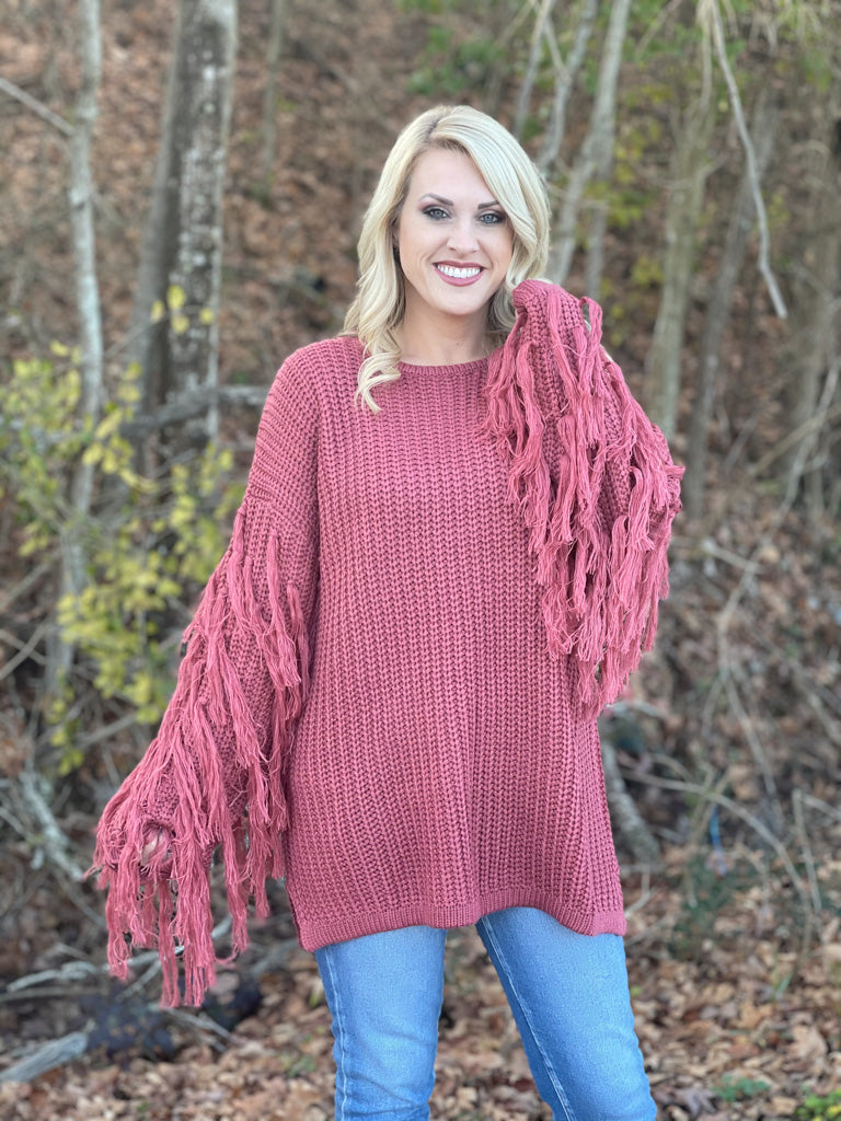 fringed sleeve sweater