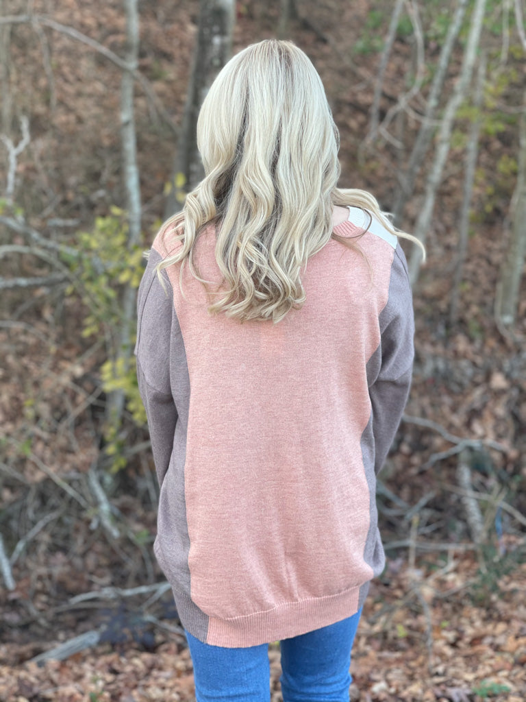 dusty mauve vertical stripe sweater