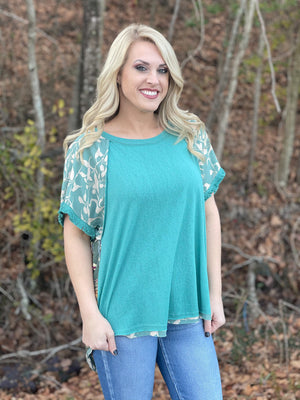 emerald short sleeve boho top H72