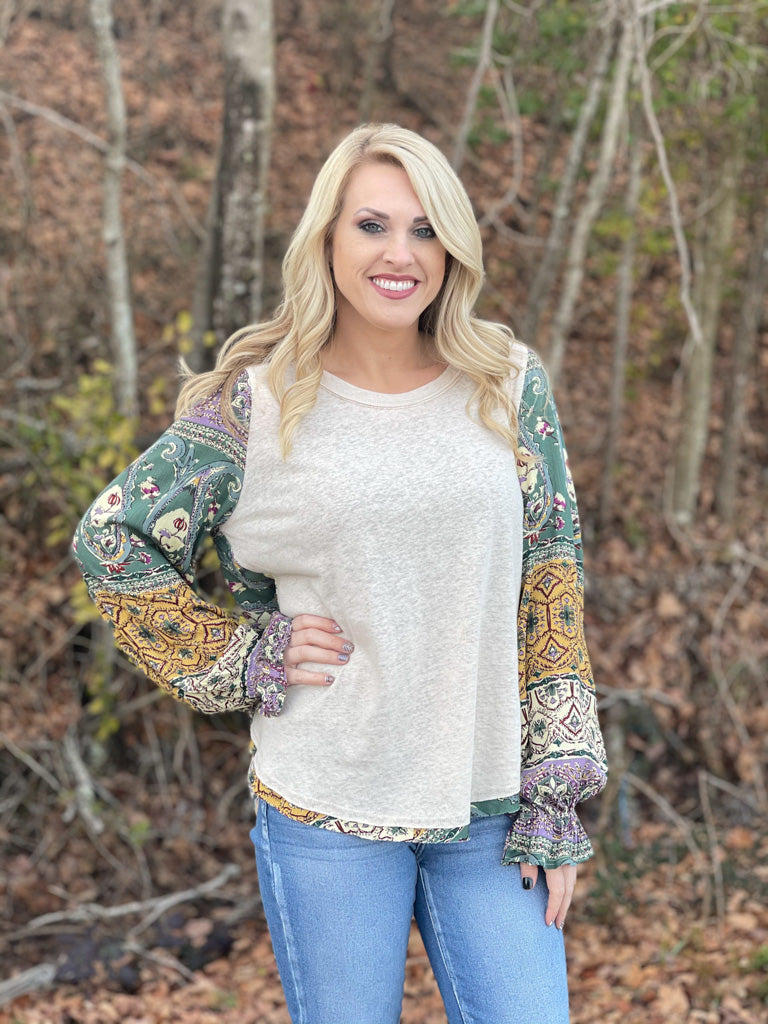 long sleeve cream boho top G40