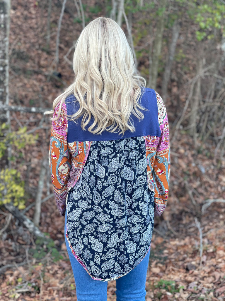 long sleeve blue boho top G61