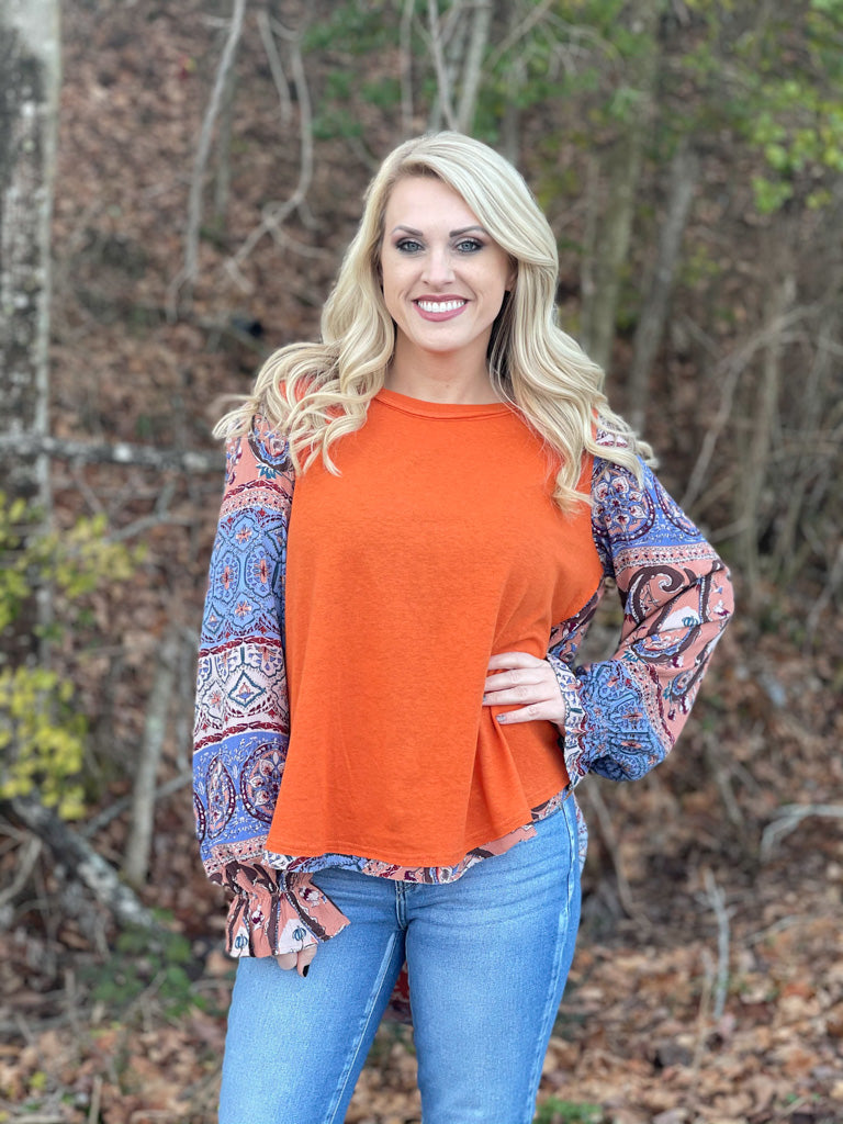 long sleeve orange boho top G50