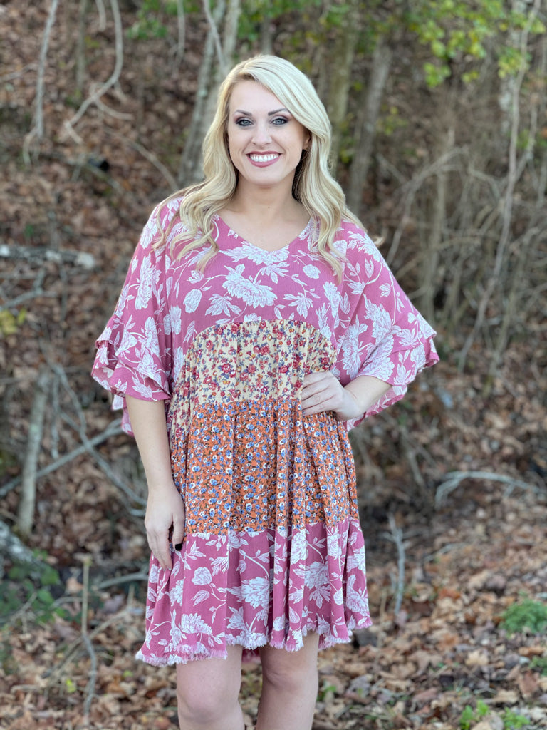 mauve floral tiered dress A66